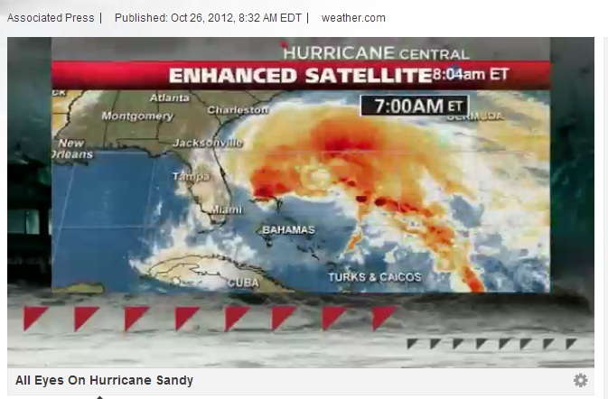 Hurricane Sandy approaches the East Coast