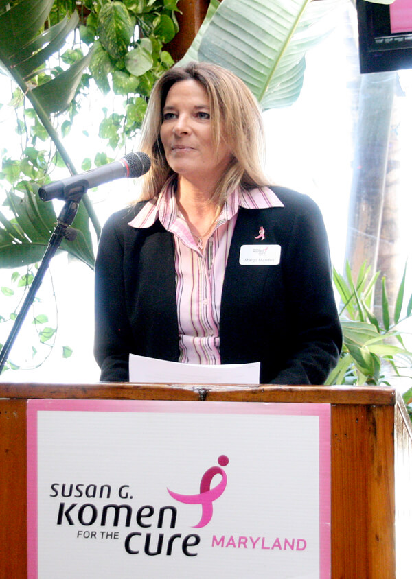 Margo Mandes, the 2013 Eastern Shore race and development coordinator for the Komen Maryland Ocean City Race for the Cure, discusses details of the April 21 event during a press conference last Friday at Seacrets on 49th Street.