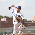Stephen Decatur sophomore Grant Donahue fires a pitch during Monday's 3A East Regional quarterfinal game against Mt. Hebron. Decatur won 1-0 in 9 innings.
