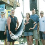 Cheri Coley caught this 95.6-pound mako shark Sunday, the final day of the 17th annual Mako Mania fishing tournament. The fish, weighed at Bahia Marina on 22nd Streetm didn't meet the 100-pound tournament minimum.