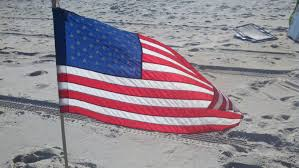 The American Flag on the Beach for the 4th