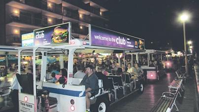 Despite struggling sales, city adds tram ads