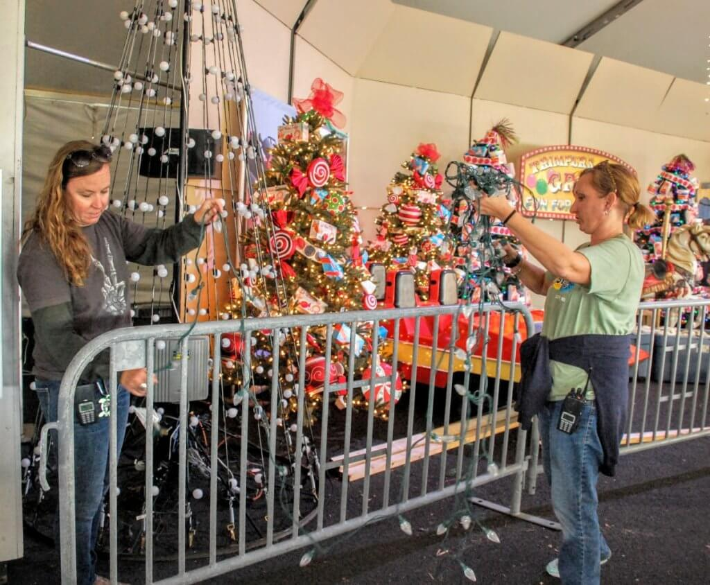 Heather Wiles and Lisa Mitchell have been with the town 14 years and 12 years respectively and have heped set up Winterfest of Lights every year.