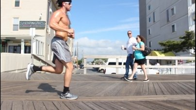 Walking the boardwalk for exercise