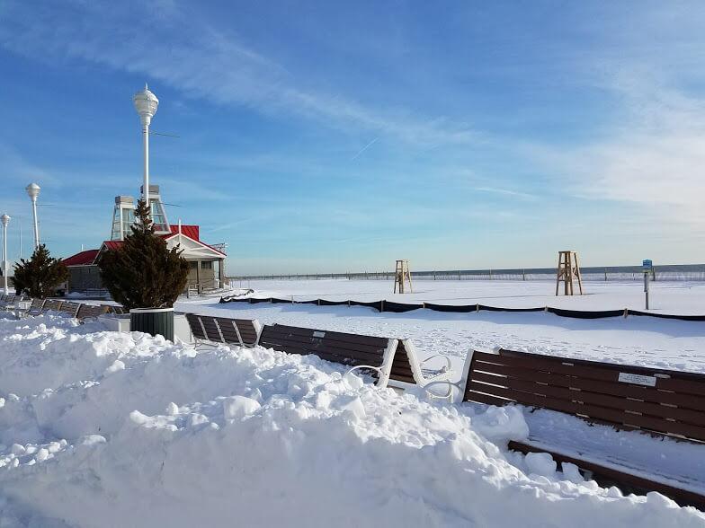 Snow boardwalk benches