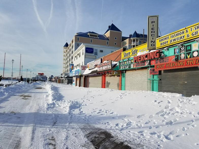 Snow on boardwalk