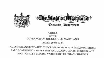 Gov Hogan Executive Order Amended: Malls Closed too