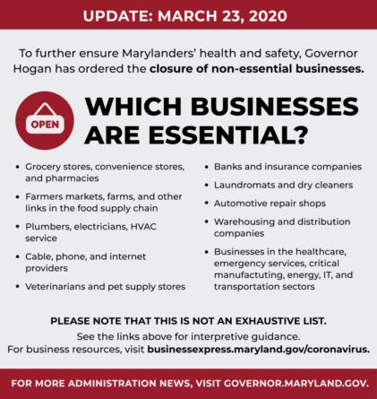 Gov Hogan Says All Non-Essential Business Must Close
